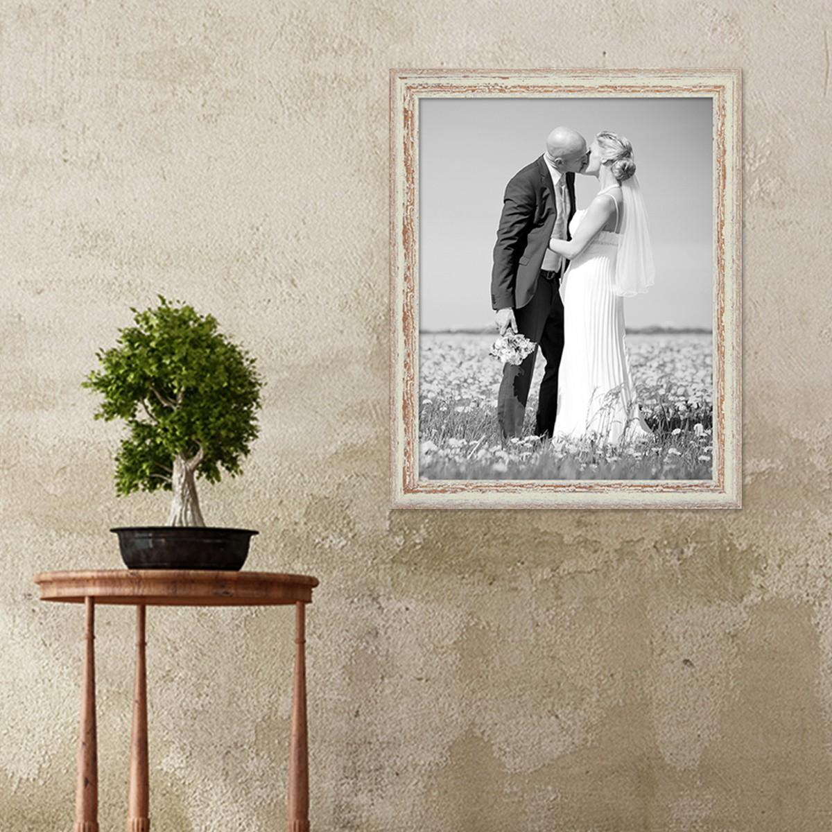 Vintage Bilderrahmen 40x50 cm Weiss Shabby-Chic Massivholz mit ...
