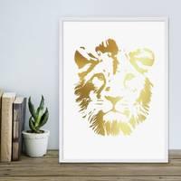 Design-Poster mit Bilderrahmen Weiss 'Lion Gold' 30x40 cm Löwenkopf Motiv Löwe Goldaufdruck