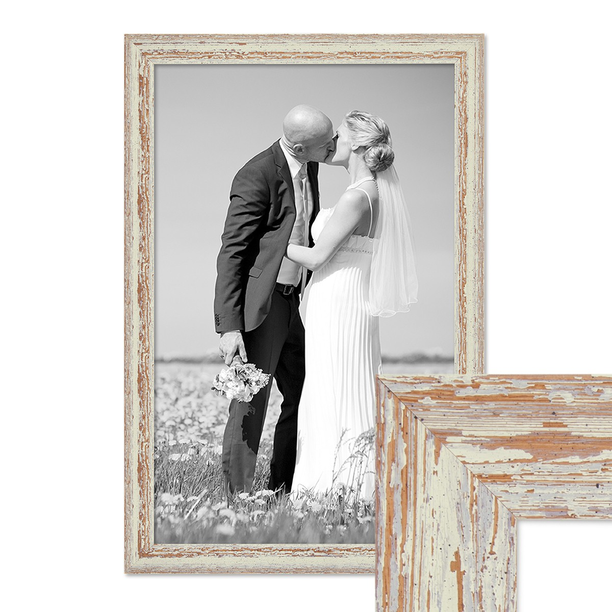 Vintage Bilderrahmen 40x60 cm Weiss Shabby-Chic Massivholz mit ...