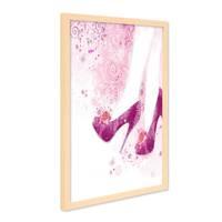 Design-Poster mit Bilderrahmen Natur 'Heels' 30x40 cm Motiv Fashion Pink Zeichnung Schuhe