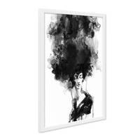 Design-Poster mit Bilderrahmen Weiss Woman 30x40 cm schwarz-weiss Motiv Frau Aquarell