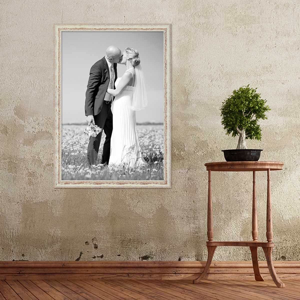 Vintage Bilderrahmen 50x70 cm Weiss Shabby-Chic Massivholz m ...