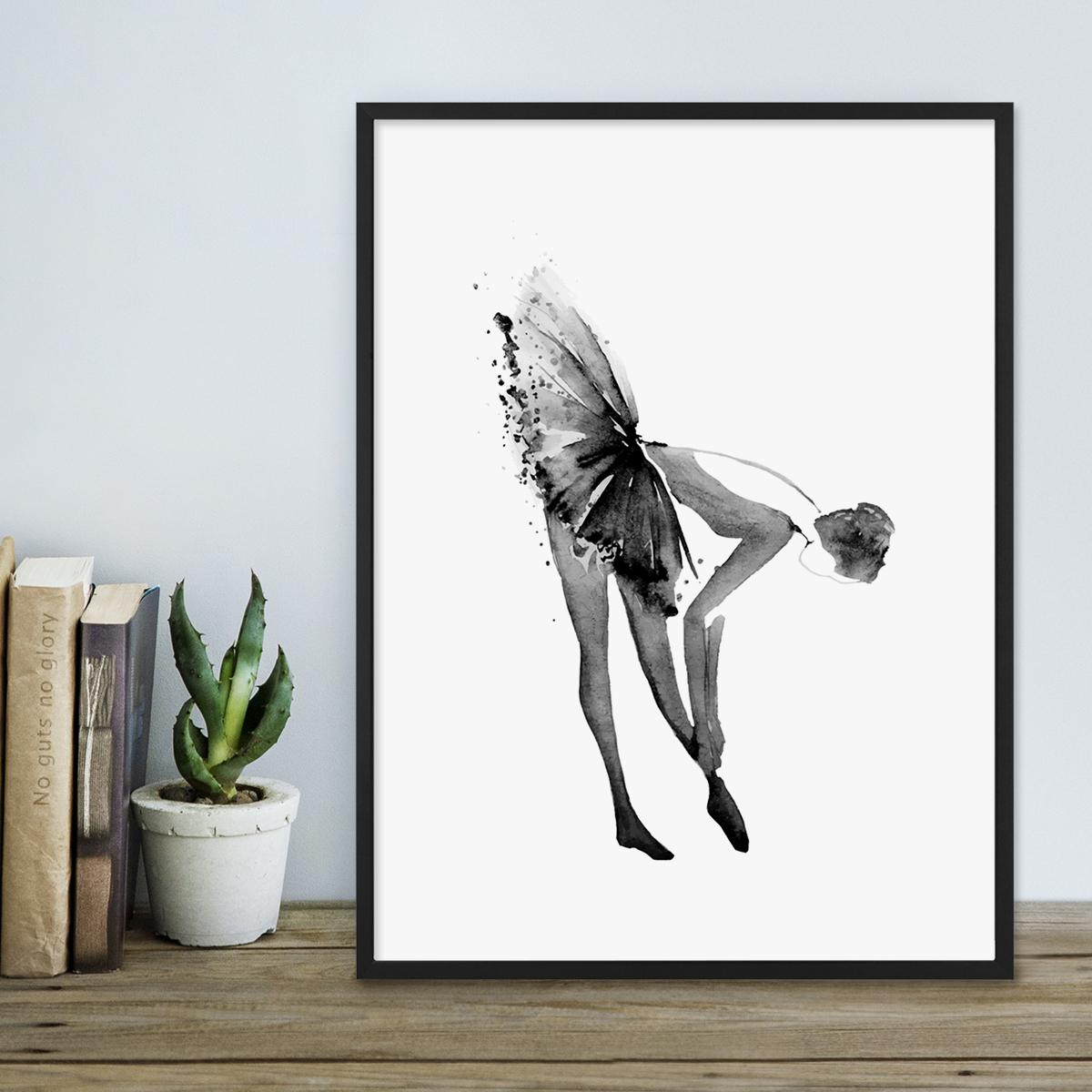 design poster 39 ballerina 39 30x40 cm schwarz weiss motiv ballettt nzerin aquarell poster design motive. Black Bedroom Furniture Sets. Home Design Ideas