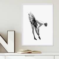Design-Poster 'Ballerina' 30x40 cm schwarz-weiss Motiv Balletttänzerin Aquarell – Bild 3
