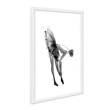 Design-Poster mit Bilderrahmen Weiss 'Ballerina' 30x40 cm schwarz-weiss Motiv Balletttänzerin Aquarell