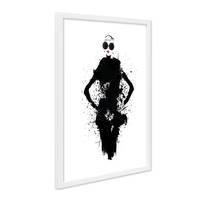 Design-Poster mit Bilderrahmen Weiss Fashion Woman 30x40 cm schwarz-weiss Splash Motiv Frau Modern