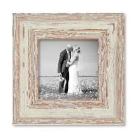 2er Set Vintage Bilderrahmen 10x10 cm Weiss Shabby-Chic Massivholz mit Glasscheibe und Zubehör / Fotorahmen / Nostalgierahmen  – Bild 6
