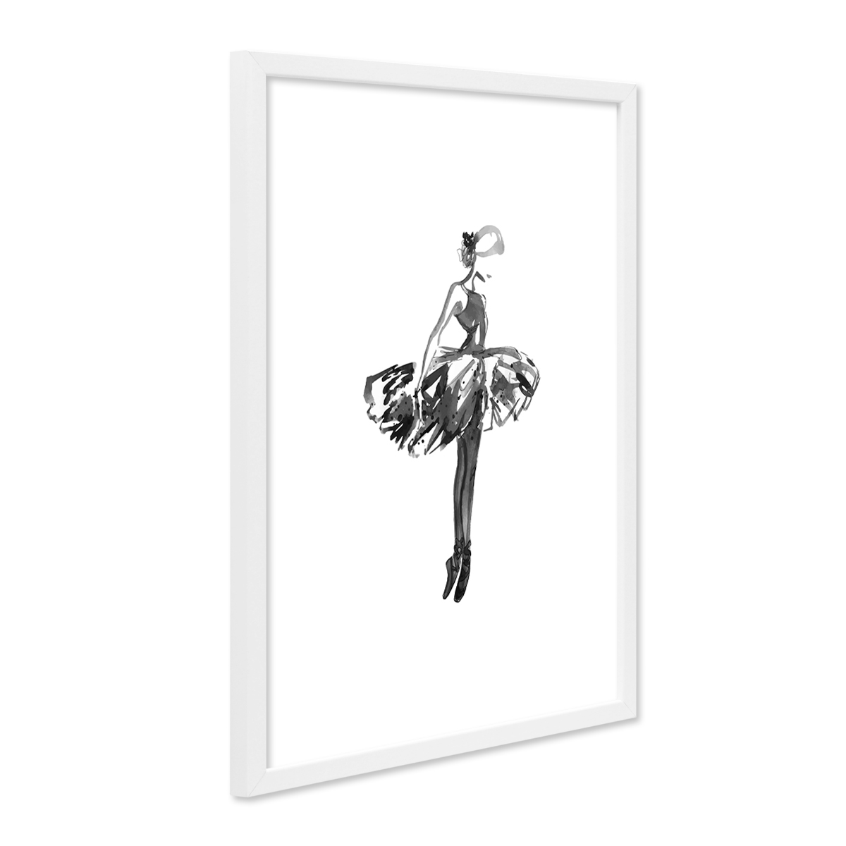 design poster mit bilderrahmen weiss 39 ballettt nzerin 39 30x40 cm schwarz weiss motiv ballerina. Black Bedroom Furniture Sets. Home Design Ideas
