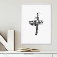 Design-Poster mit Bilderrahmen Weiss 'Balletttänzerin' 30x40 cm schwarz-weiss Motiv Ballerina Aquarell – Bild 2