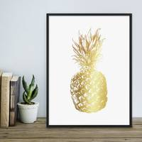 Design-Poster mit Bilderrahmen Schwarz 'Goldene Ananas' 30x40 cm Goldaufdruck Motiv Modern