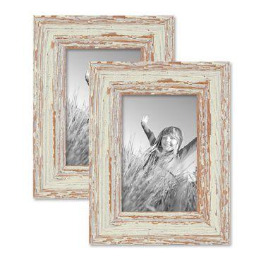 2er Set Vintage Bilderrahmen 10x15 cm Weiss Shabby-Chic Massivholz mit Glasscheibe und Zubehör / Fotorahmen / Nostalgierahmen