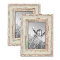 2er Set Vintage Bilderrahmen 10x15 cm Weiss Shabby-Chic Massivholz mit Glasscheibe und Zubehör / Fotorahmen / Nostalgierahmen  – Bild 1