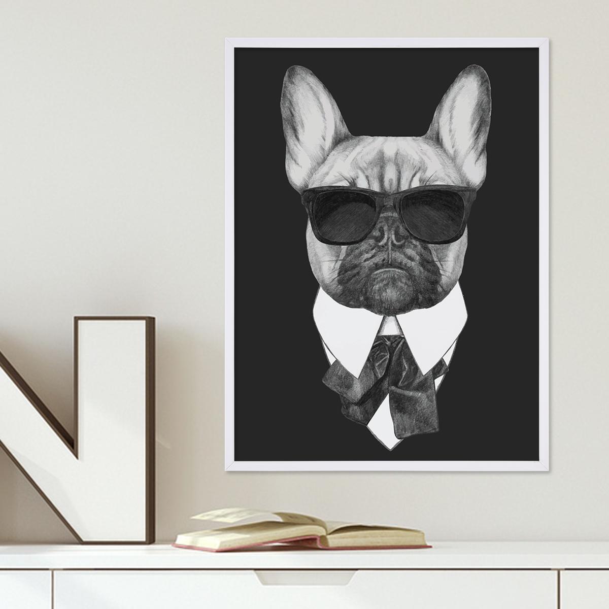 Poster mit Bilderrahmen Weiss \'Bulldogge\' 30x40 cm schwarz-weiss ...