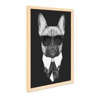 Poster mit Bilderrahmen Natur 'Bulldogge' 30x40 cm schwarz-weiss Motiv Hund Mops Zeichnung – Bild 2