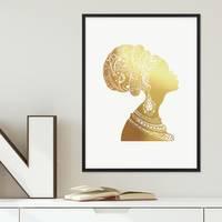 Design-Poster mit Bilderrahmen Schwarz 'Woman Gold' 30x40 cm Goldaufdruck Motiv Frau Afrika Dekoration – Bild 1