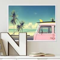 Poster mit Bilderrahmen Weiss Vintage Car 30x40 cm Motiv Bulli Strandbild Natur Landschaft Foto