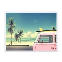 Poster mit Bilderrahmen Weiss 'Vintage Car' 30x40 cm Motiv Bulli Strandbild Natur Landschaft Foto – Bild 4