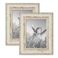2er Set Vintage Bilderrahmen 13x18 cm Weiss Shabby-Chic Massivholz mit Glasscheibe und Zubehör / Fotorahmen / Nostalgierahmen  – Bild 1