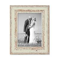 2er Set Bilderrahmen 13x18 cm Weiss Shabby-Chic Vintage Massivholz mit Glasscheibe und Zubehör / Fotorahmen / Nostalgierahmen  – Bild 7