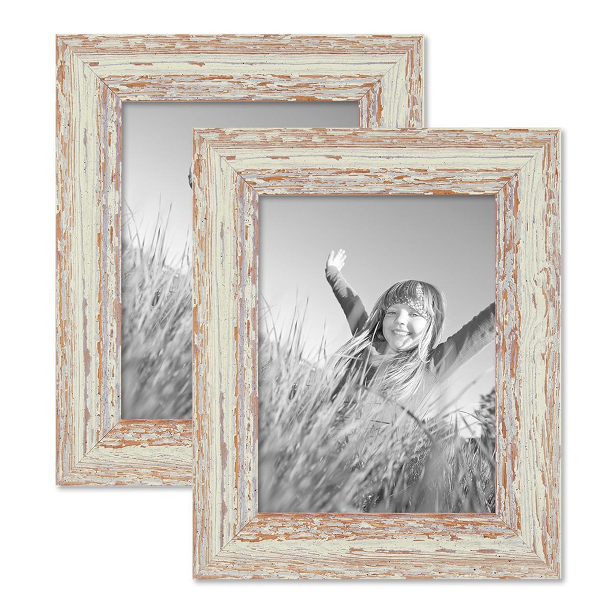 Vintage Bilderrahmen 2er Set 15x20 cm Weiss Shabby-Chic