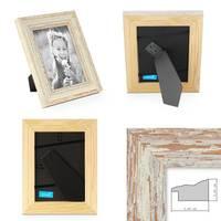 2er Set Vintage Bilderrahmen 15x20 cm Weiss Shabby-Chic Massivholz mit Glasscheibe und Zubehör / Fotorahmen / Nostalgierahmen  – Bild 2
