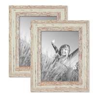 2er Set Vintage Bilderrahmen 15x20 cm Weiss Shabby-Chic Massivholz mit Glasscheibe und Zubehör / Fotorahmen / Nostalgierahmen  – Bild 1