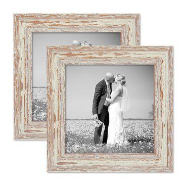 2er Set Vintage Bilderrahmen 20x20 cm Weiss Shabby-Chic Massivholz mit Glasscheibe und Zubehör / Fotorahmen / Nostalgierahmen