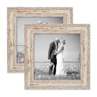 2er Set Bilderrahmen 20x20 cm Weiss Shabby-Chic Vintage Massivholz mit Glasscheibe und Zubehör / Fotorahmen / Nostalgierahmen