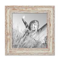 2er Set Vintage Bilderrahmen 20x20 cm Weiss Shabby-Chic Massivholz mit Glasscheibe und Zubehör / Fotorahmen / Nostalgierahmen  – Bild 4