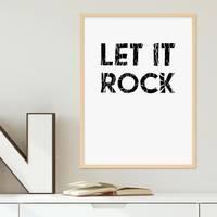 Poster mit Bilderrahmen Natur 'Let it Rock' 30x40 cm schwarz-weiss Motiv Fun Spruch Typographie – Bild 2