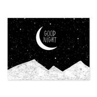 Design-Poster 'Good Night' 30x40 cm schwarz-weiss Motiv Typographie Spruch Mond – Bild 1