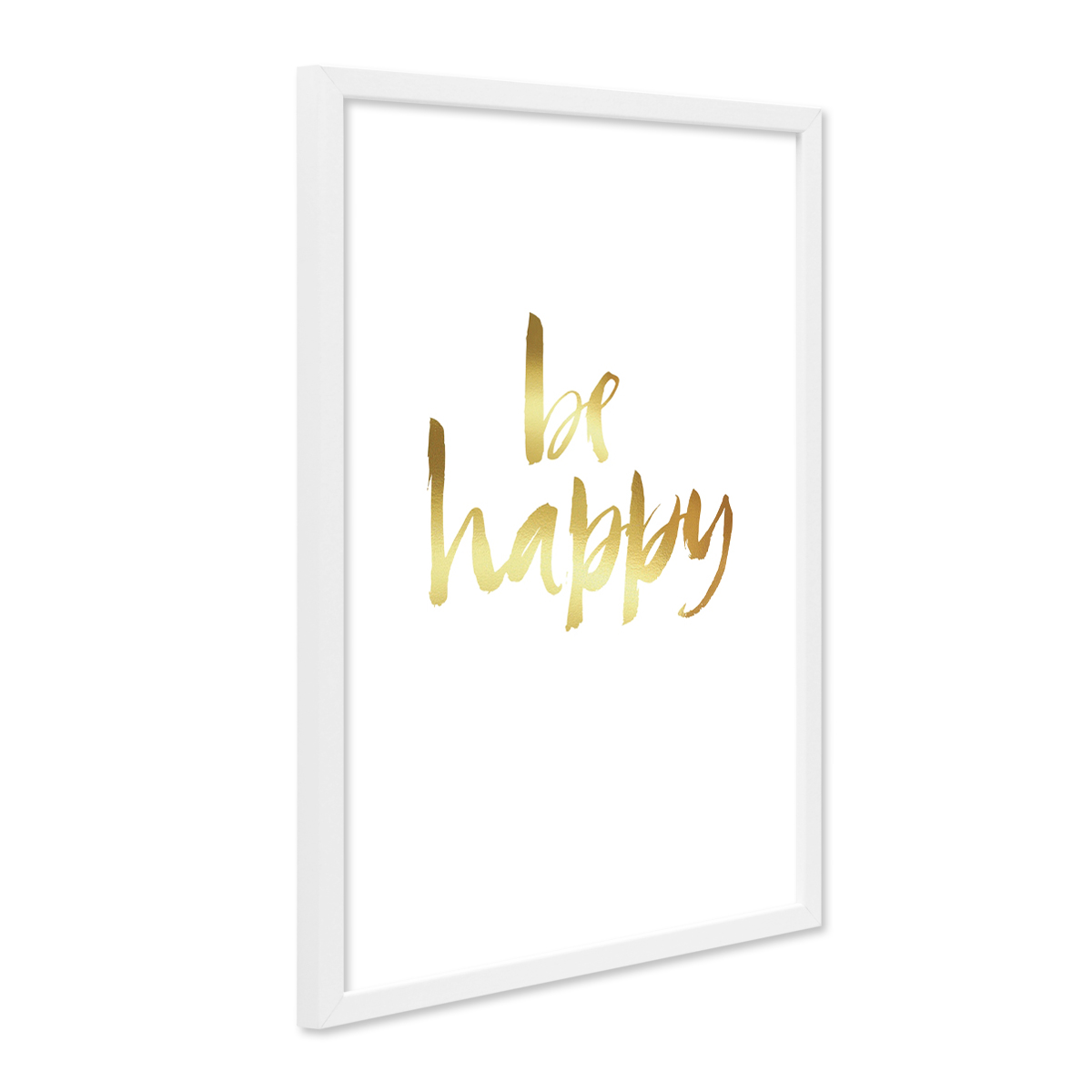 design poster mit bilderrahmen weiss 39 happy gold 39 30x40 cm goldaufdruck motiv spruch typograhie. Black Bedroom Furniture Sets. Home Design Ideas