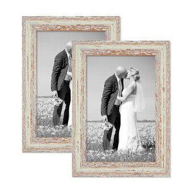 2er Set Vintage Bilderrahmen 21x30 cm / DIN A4 Weiss Shabby-Chic Massivholz mit Glasscheibe und Zubehör / Fotorahmen / Nostalgierahmen