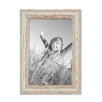 2er Set Vintage Bilderrahmen 21x30 cm / DIN A4 Weiss Shabby-Chic Massivholz mit Glasscheibe und Zubehör / Fotorahmen / Nostalgierahmen  – Bild 4
