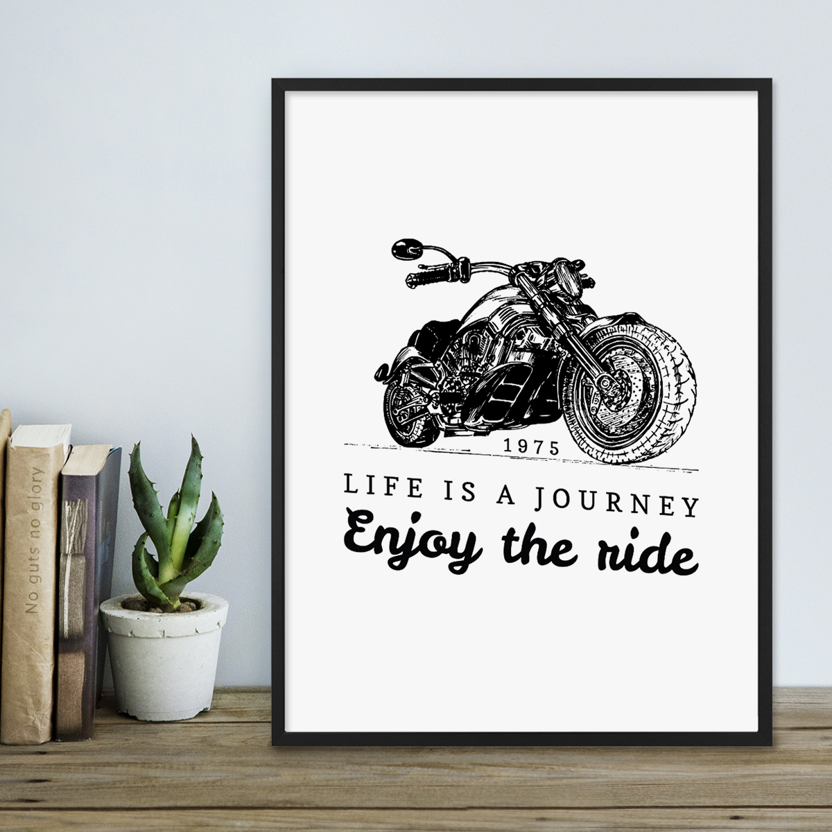poster mit bilderrahmen schwarz 39 journey 39 30x40 cm schwarz weiss motiv spruch biker typographie. Black Bedroom Furniture Sets. Home Design Ideas