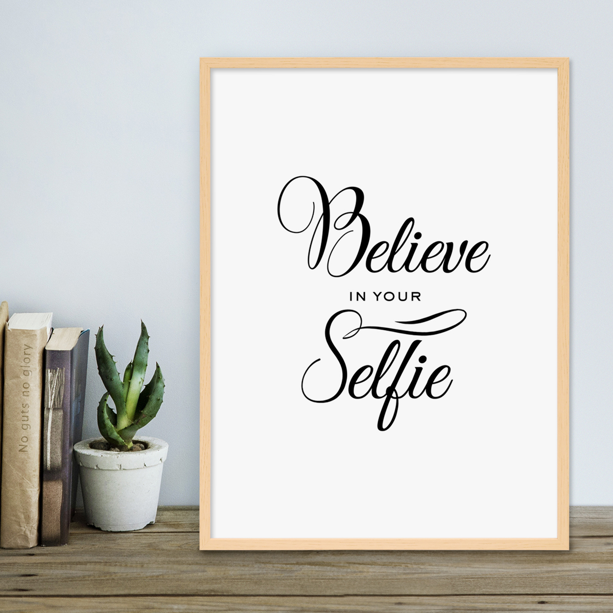 poster mit bilderrahmen natur 39 selfie 39 30x40 cm schwarz weiss motiv fun spruch typographie. Black Bedroom Furniture Sets. Home Design Ideas