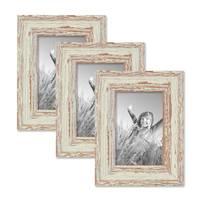 3er Set Vintage Bilderrahmen 10x15 cm Weiss Shabby-Chic Massivholz mit Glasscheibe und Zubehör / Fotorahmen / Nostalgierahmen  – Bild 1