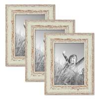 3er Set Vintage Bilderrahmen 13x18 cm Weiss Shabby-Chic Nostalgie