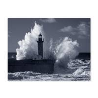 Poster 'Wellen' 30x40 cm schwarz-weiss Motiv Natur See Leuchtturm Foto