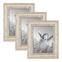 3er Set Vintage Bilderrahmen 15x20 cm Weiss Shabby-Chic Massivholz mit Glasscheibe und Zubehör / Fotorahmen / Nostalgierahmen  – Bild 1