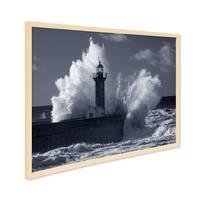 Poster mit Bilderrahmen Natur 'Wellen' 30x40 cm schwarz-weiss Motiv Natur See Leuchtturm Foto