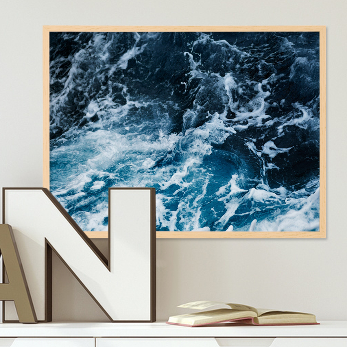 poster mit bilderrahmen natur 39 splashing 39 30x40 cm motiv wasser see ozean meer natur foto poster. Black Bedroom Furniture Sets. Home Design Ideas