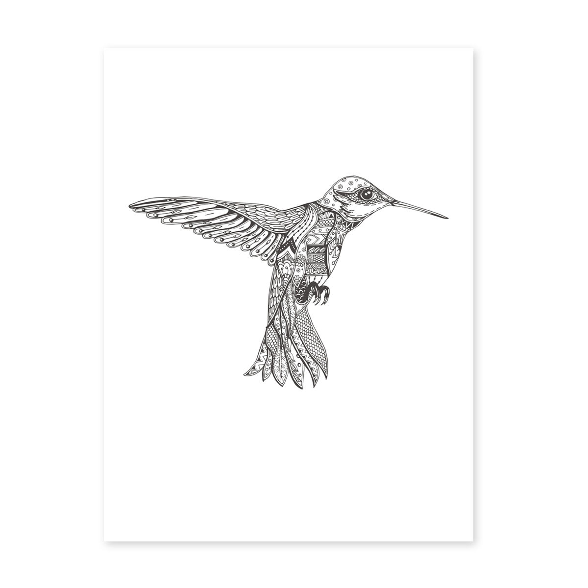 design poster 39 kolibri 39 30x40 cm schwarz weiss motiv vogel. Black Bedroom Furniture Sets. Home Design Ideas