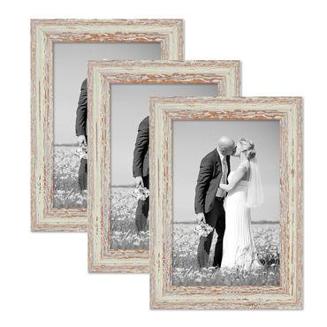 3er Set Vintage Bilderrahmen 20x30 cm Weiss Shabby-Chic Massivholz mit Glasscheibe und Zubehör / Fotorahmen / Nostalgierahmen