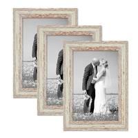 3er Set Vintage Bilderrahmen 21x30 cm Weiss Shabby-Chic Massivholz mit Glasscheibe und Zubehör / Fotorahmen / Nostalgierahmen  – Bild 1