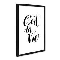 Poster mit Bilderrahmen Schwarz 'C'est la Vie' 30x40 cm schwarz-weiss Motiv Spruch Typographie Modern – Bild 1
