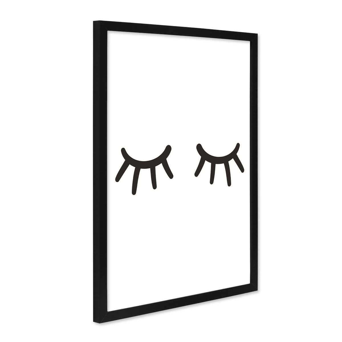 poster mit bilderrahmen schwarz 39 closed eyes 39 30x40 cm schwarz weiss motiv augen minimalistisch. Black Bedroom Furniture Sets. Home Design Ideas
