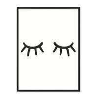Poster mit Bilderrahmen Schwarz 'Closed Eyes' 30x40 cm schwarz-weiss Motiv Augen Minimalistisch