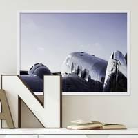 Poster mit Bilderrahmen Weiss Flugzeug 30x40 cm Motiv Flieger Jet Foto