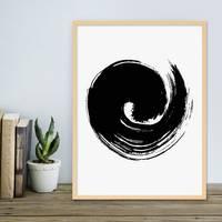 Poster mit Bilderrahmen Natur 'Brush Wave' 30x40 cm schwarz-weiss Motiv Modern Minimalistisch